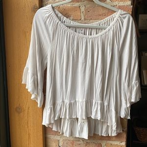 White off the shoulder blouse with ruffles